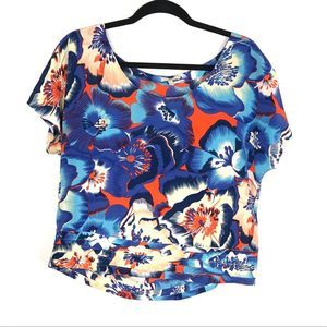 JOIE blue and orange floral blouse top